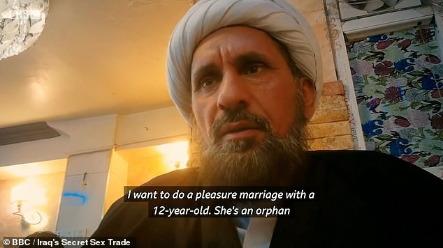 An undercover BBC reporter interviewed this cleric in Baghdad who appeared to agree to a 'pleasure marriage' to a 12-year-old