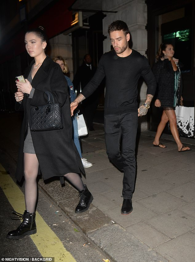 Stepping out:Liam Payne, 26, enjoyed a dinner date with Maya Henry, 19, in London's Novikov restaurant on Tuesday
