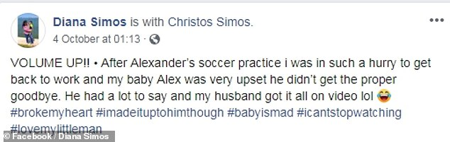 Diana shared the sweet clip on Facebook on October 4 with the caption: 'After Alexander's soccer practice I was in such a hurry to get back to work and my baby Alex was very upset he didn't get the proper goodbye.'