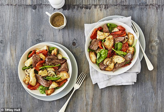 For a regular dinner at home with her son Arnold and husband Ed Kavalee, Tiffiny whips up a steak sandwich salad bowl as a modern twist on the pub classic