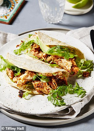 Then for lunch it's an easy chicken taco recipe she invented for all her TIFF.XO program followers so she - and they - could enjoy a healthier take on traditional Mexican food