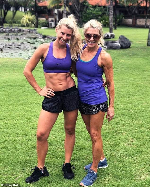 Tiffiny and her 63-year-old mother look like they could be sisters - proving that strong runs in the family