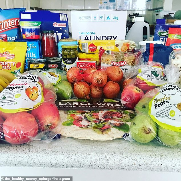 She also spent $34.23 at Woolworths, which included The Odd Bunch fruits - 1kg of apples for $2.50 and $2.50 for 1kg pears (far left and right)