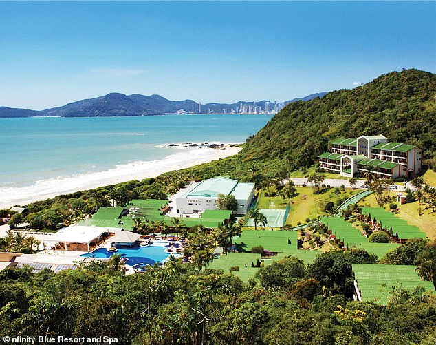 Brunel's phone linked to the pricey Infinity Blue Resort and Spa therein Santa Catarina, pictured.Maxwell's cell records also put her in the area, according to reports