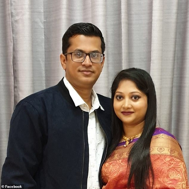 Shahid Islam (left with wife Ferdousi), 36, collided into an out-of-control Mitsubishi SUV allegedly travelling on the wrong side on the Gympie Arterial Road in Bald Hills