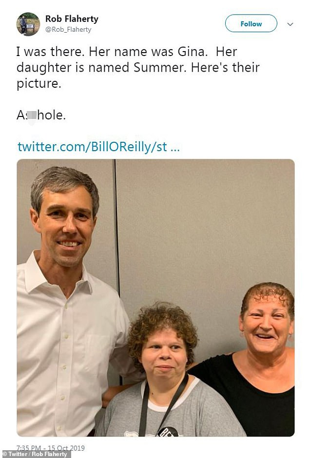 Rob Flaherty - the former representative's digital director - quickly retweeted O'Reilly's tweet and included a photo of O'Rourke with the woman in question