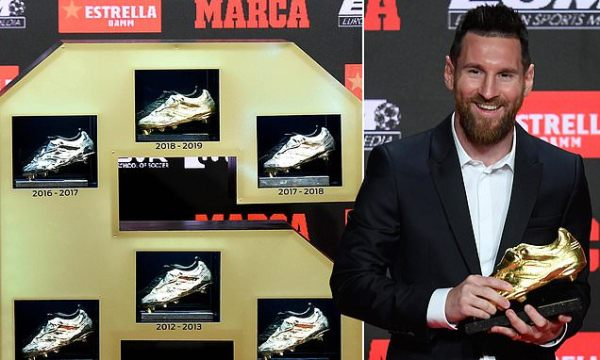 Barcelona news: Lionel Messi presented with sixth Golden Shoe award