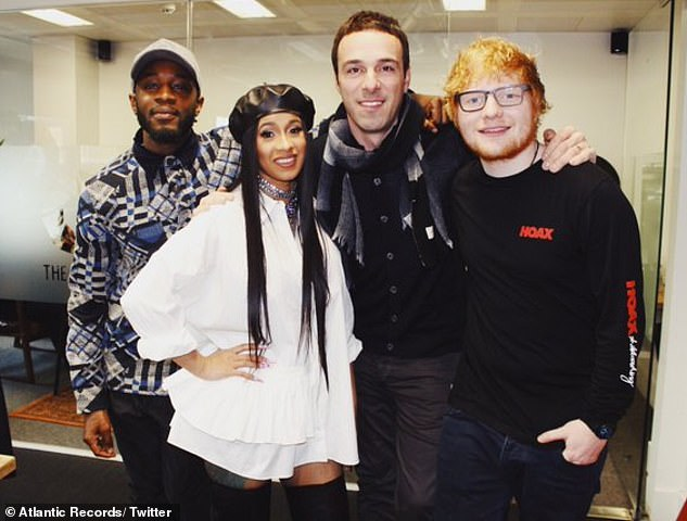 'Offensive mistake': Ben Cook, centre, with Ed Sheeran, right, rapper Cardi B, left, and A&R worker Alec Boateng, far left