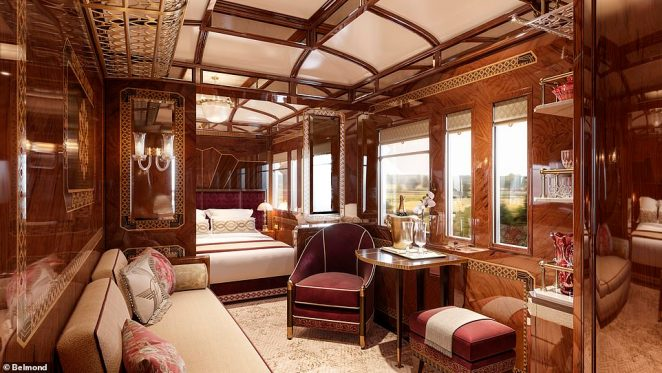 A rendering of the new Prague suite, which is coming soon to theVenice Simplon-Orient-Express. Belmond, which owns the train, says this suite is inspired by the Baroque and Gothic architecture of Prague