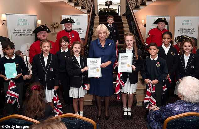 Camilla presented the pupils, who came from five local schools in the area, with certificates after their participation in the event