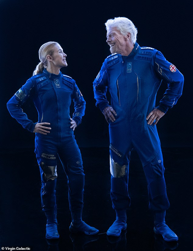 Musk is not the first to move forward with a unique space suit. Richard Branson's Virgin Galactic (right) unveiled an entire wardrobe for space tourists in 2019 that would make anyone feel like a space fairing hero