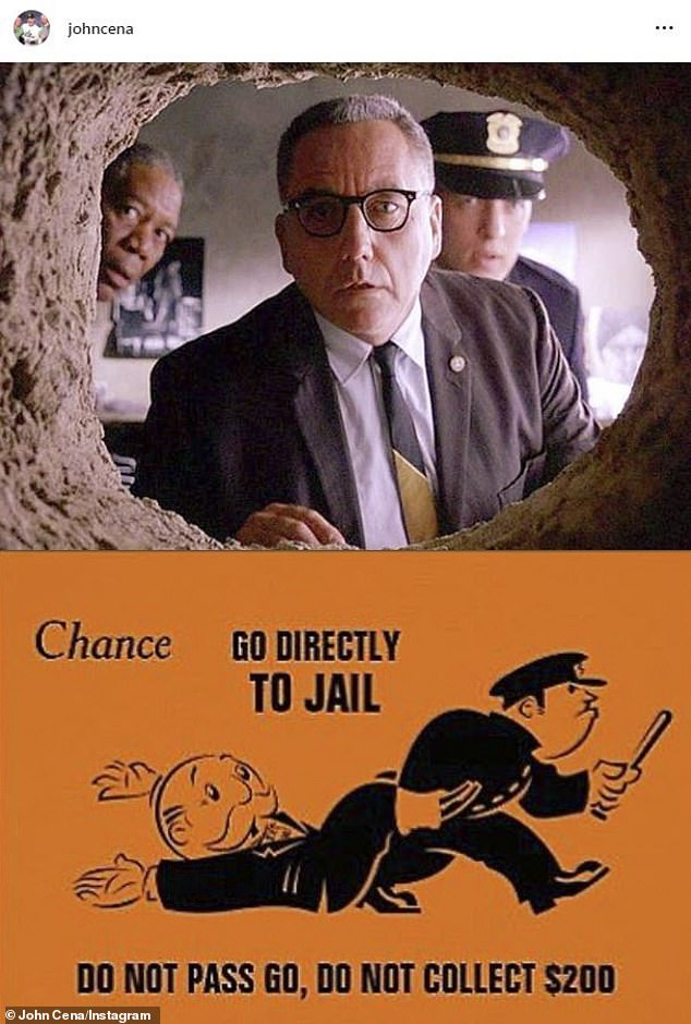 Prison break? Cena cryptically shared Instagram snaps Tuesday and Wednesday of The Shawshank Redemption climactic tunnel reveal and a go-directly-to-jail card from the Monopoly board game