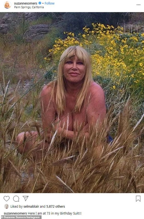 Suzanne Somers bares all while posing nude in a field of flowers