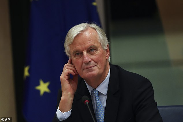 He spent the previous evening hammering it out with the EU's chief negotiator Michel Barnier (pictured)
