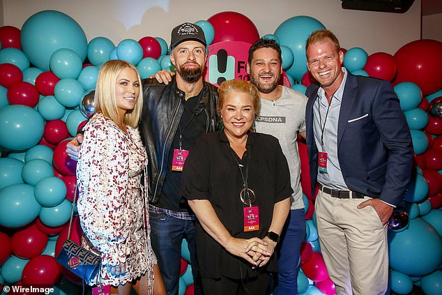 In June, Yvie (centre) was named as Fifi Box's replacement on Fox FM while she is on maternity leave. Pictured with reality stars Keira Maguire (far left) and Jarrod Woodgate (far right)
