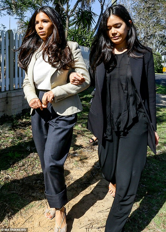 The Teo sisters said not a word as Nicola was peppered with questions about whether she 'had a message' for Jock Ross, the Comanchero founder she allegedly injured