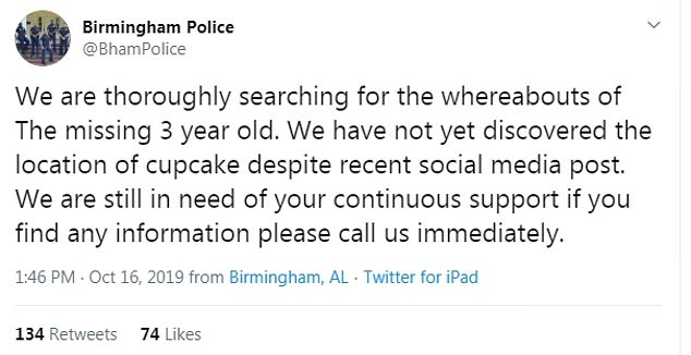 The Birmingham Police Department sent out this tweet to set the record straight on the results of the search following conflicting reports