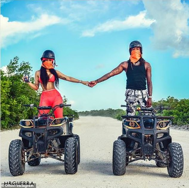 Blessed: The 27-year-old rapper was dressed to thrill wearing an all-red ensemble for an off-road adventure on all terrain vehicles with her lover
