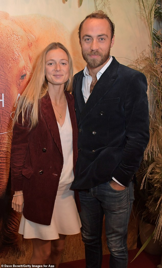 "James Middleton and his new fiancée Alizee Thevenet stepped out publically this evening for the first time since announcing their engagement earlier this month (pictured, at the London Premiere of Apple's acclaimed documentary ""The Elephant Queen"")"