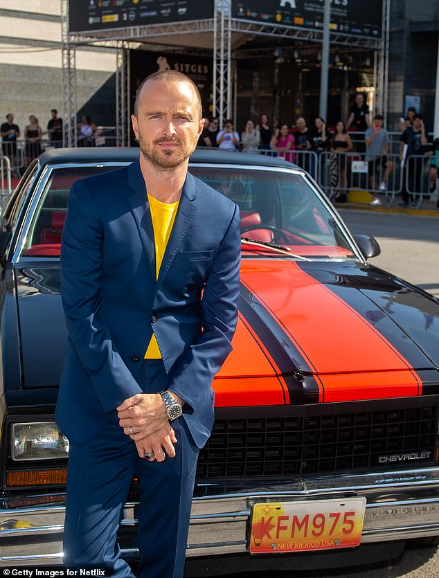 Iconic: El Camino has also helped generate a spike in views of Breaking Bad ; Paul is pictured at  photocall in Sitges, Spain on October 12