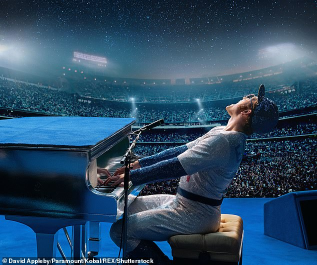 Well done:Taron has won accolades for his role as Elton in decades-spanning Rocketman, which charts the star's rise from obscurity and gradual into drug and alcohol dependency