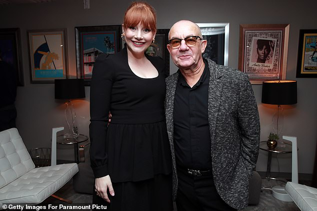 Best pals: The Jurassic World star posed with Elton's longtime songwriting partner Bernie Taupin, who is also depicted in the film