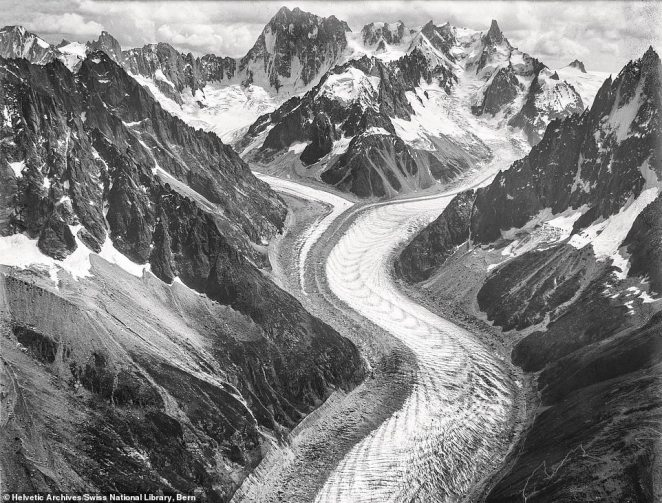 The Mer de Glace glacier on Mont Blanc, France, taken in 1909 by Swiss adventurer and 'pioneer balloonist' Eduard Spelterini. The book says that environmentalists today use his images to help track how fast glaciers are shrinking