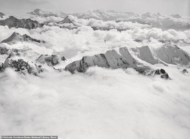 A photograph of the Blümlisalp massif in Switzerland in 1909, by Spelterini. He was the first person to successfully cross the Swiss Alps by balloon