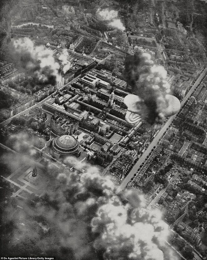 London in flames during Luftwaffe bombings on September 15, 1940. The action on that day was part of a 76-night campaign that came to be known as The Blitz