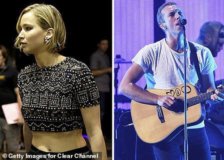 Dating: Jennifer enjoyed an on/off romance with Coldplay's Chris Martin, beginning in August 2014; She is pictured left backstage at his iHeartRadio performance in September of that year