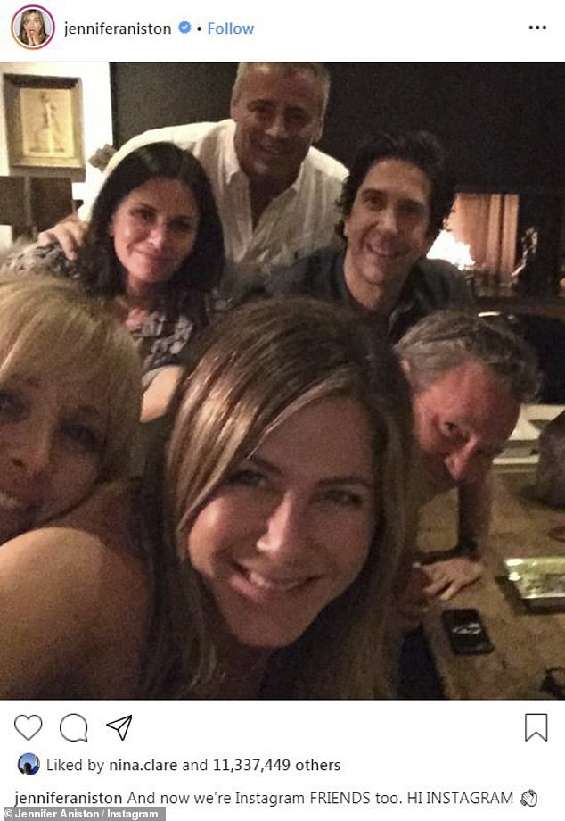 Back together: The Friends photo featured Schwimmer, Aniston, Matthew Perry, Matt LeBlanc, Courteney Cox and Lisa Kudrow