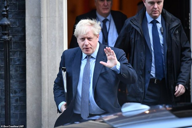 Boris Johnson (pictured leaving Downing Street today) faces having his moment of triumph snatched away by an 'act of sabotage' despite being within touching distance of getting a majority for his deal