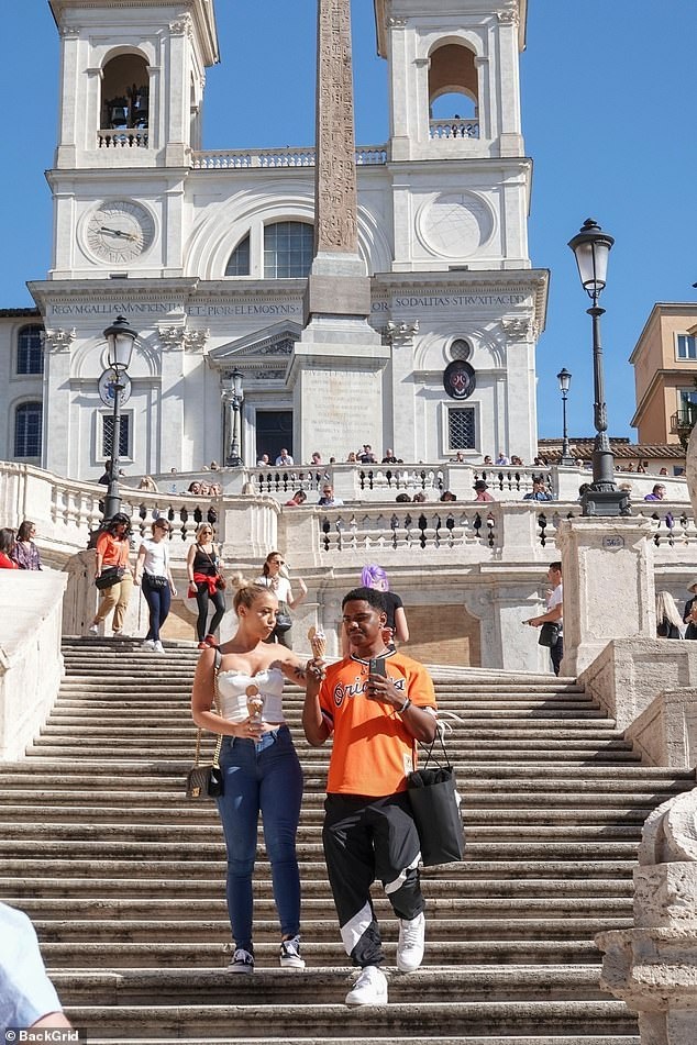 Delicious! The pair enjoyed ice creams as they took selfies on the famous Spanish Steps