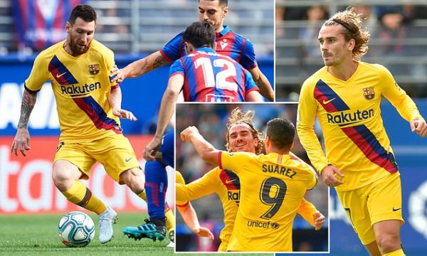 Eibar 0-3 Barcelona: Griezmann, Messi and Suarez put Barcelona top