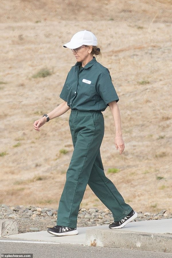 Felicity Huffman spotted in her prison jumpsuit on family visiting day