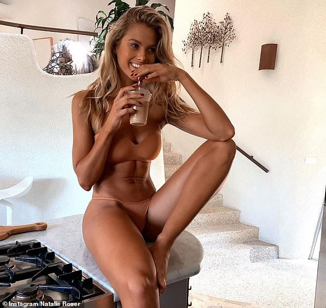 Australian model Natalie Roser (pictured) wearing a flesh-coloured two-piece in a way that's not 'gimmicky or overtly eye-catching'