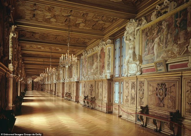 A view of one of the corridors of the Fontainebleau Palace, which was refurbished in the New Renaissance style during the 16th century by then King Francis I