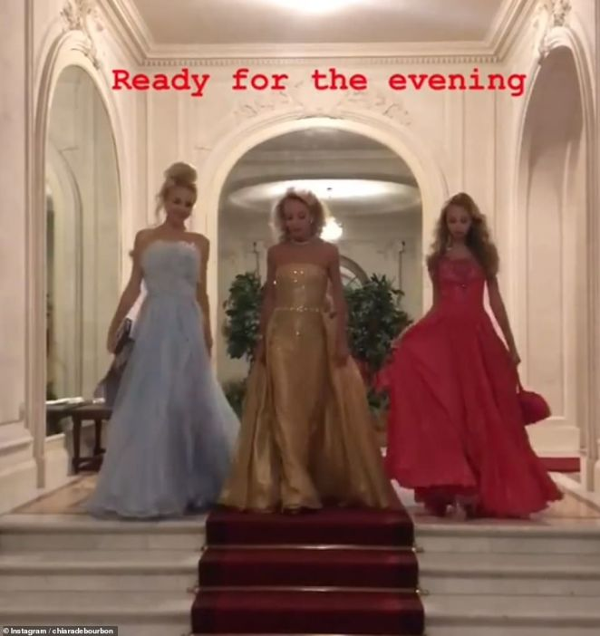 Left to right: Maria Carolina de Bourbon-Two Siciles, with her mother Camilla and her younger sister Maria Chiaria as they headed to the dinner reception in Fontainebleau