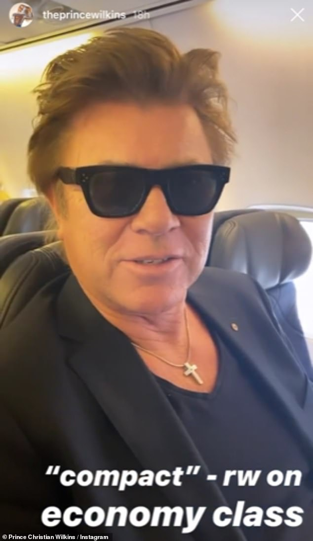 'It's compact': The Today show's Richard Wilkins (pictured), 65, looked a little cramped while flying economy, in a photo shared to Instagram Stories by sonChristian over the weekend