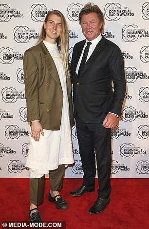 Keeping up appearances: Christian is pictured with Richard at the Australian Commercial Radio Awards in Brisbane on Saturday night