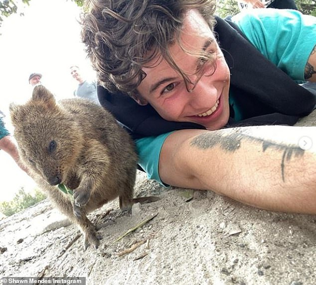 Gotta love it: The 21-year-old singer captioned it simply, saying, 'Today I met a Quokka