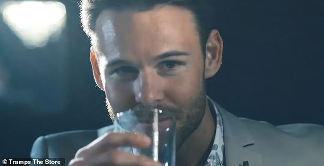 Screen star! In recent years, Carlin has starred in campaigns for menswear brand Tramps The Store and also appeared in short films. Pictured: Carlin in a Tramps The Store advert in 2019