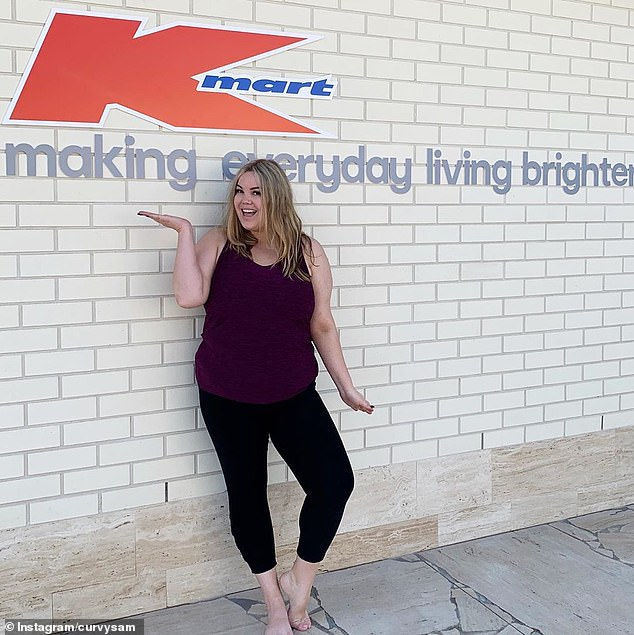 Brisbane blogger Curvy Sam (pictured) is another member of the Kmart influencer gang, sharing styling tips and complete outfits from the budget retailer with her 28,400 followers