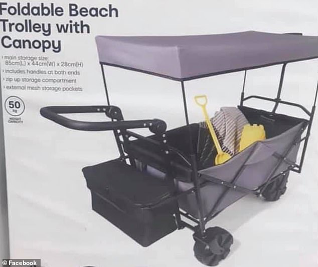 A bigger and better version of Kmart's foldable beach trolley, priced at $89, is set to make its debut on store shelves