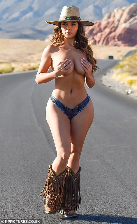 Racy display: Demi Rose stripped off once again for a cowboy inspired photoshoot in Nevada during her Las Vegas road trip