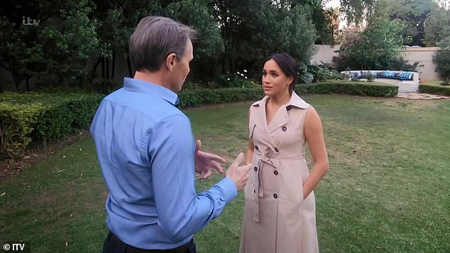 Meghan's 'self-comfort' hands in pockets ritual: Displaying 'complex' body language at the end of the documentary, Meghan puts her hands in her pockets, which could be a 'self-comfort ritual' or a 'subliminal desire to hide', explains Judi James