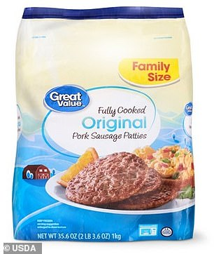 However, they were then accidentally shipped nationwide instead of being disposed. Pictured: Recalled Family Size Great Value Fully Cooked Original Pork Sausage Pattie