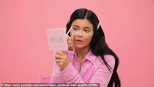 Detailed:And she adds a pink concealer which take care of the dark circles because she doesn't sleep enough. Powder is next - she uses soft pink then a translucent powder. Jenner adds the one product she cannot live without is lipstick