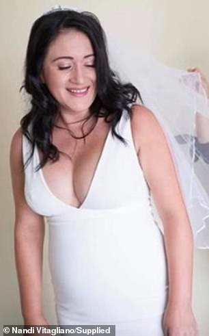 Nandi Vitagliano said her weight spiralled after she was mistaken for being pregnant on her wedding day (pictured on her special day in early 2018)