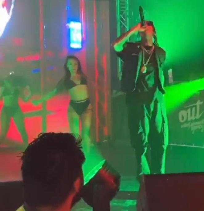 Fuming: On Sunday, hundreds of people were left furious after paying up to $90 to see Kylie Jenner's ex-boyfriend and rapper Tyga perform live in Wollongong, only for him to play for 15 minutes. Pictured during the concert on Sunday